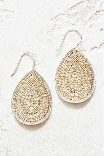 Gold Large Dotted Teardrop Earrings GOLD