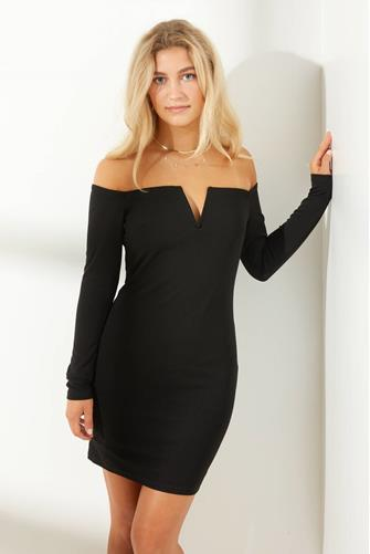 Off Shoulder V-Wire Bodycon Dress BLACK