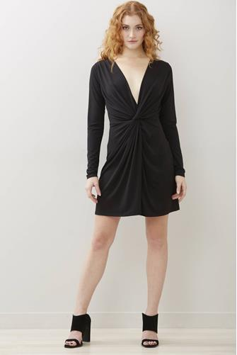 Black Knot Front Dress BLACK