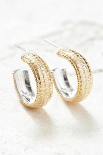 Gold Dotted Small Dome Hoop Earrings GOLD
