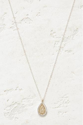 Reversible Dotted Drop Pendant Necklace GOLD