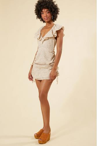 Halsey Ruched Mini Dress BROWN MULTI -