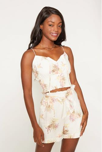 Tropic Dreaming Floral Crop Top WHITE MULTI -