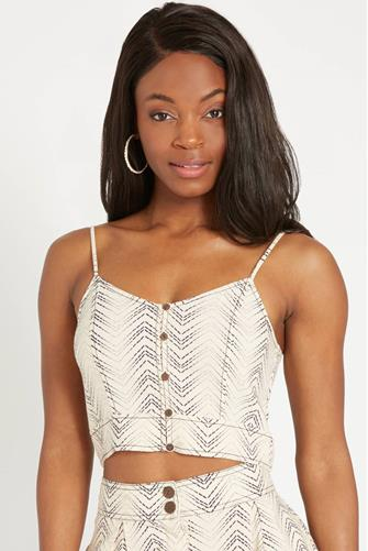 Printed Button Down Cami IVORY