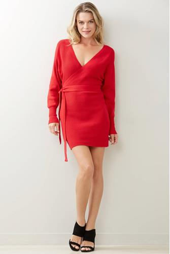 Tie Front Sweater Dress RED