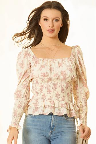 Smock Body Floral Peplum Blouse WHITE MULTI -