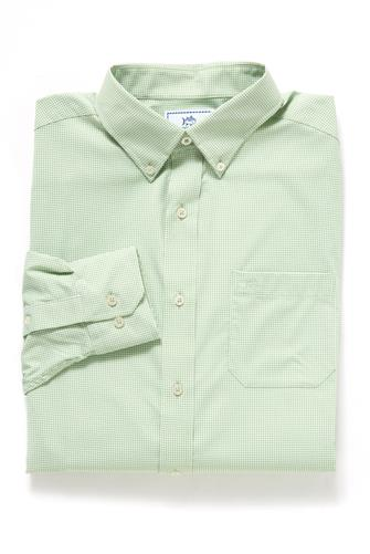 Surf Green Micro Gingham Intercoastal Performance Sport Button Down Shirt LITE GREEN