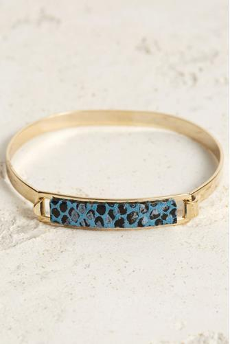 Blue Python Leather ID Bracelet BLUE MULTI -