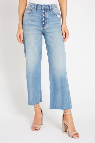 The Mikey Hi Rise Wide Leg Crop Jean in Two For The Road MEDIUM DENIM