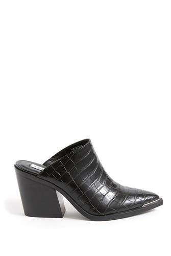 Alanna Black Croc Western Mule BLACK