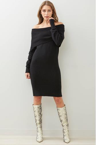 Off The Shoulder Sweater Dress BLACK