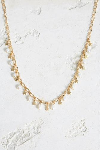 Pearl & Star Choker Necklace GOLD