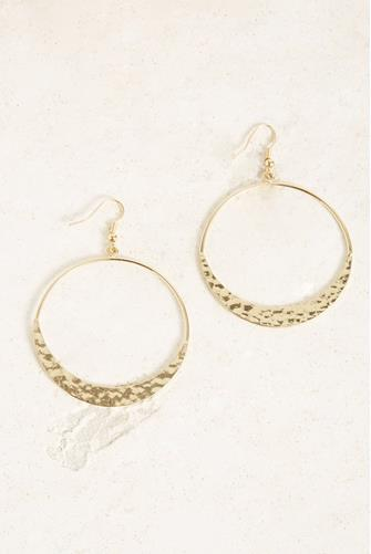Large Hammered Open Circle Drop Earrings GOLD