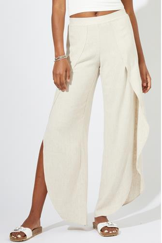 Tan Linen Whitney Wrap Pant TAN