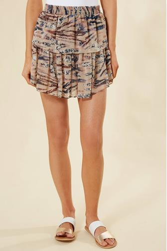 Multi Animal Ruffle Mini Skirt TAN