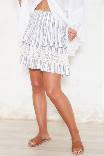 Ruffle Embroidered Tiered Mini Skirt WHITE MULTI -