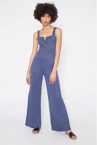 V-Wire Ribbed Knit Jumpsuit NAVY