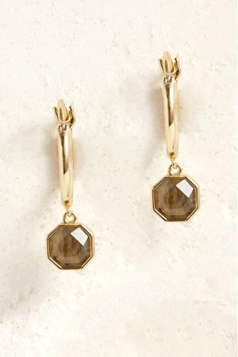 Labradorite Power Gemstone Charm Huggie Earrings GREY MULTI -