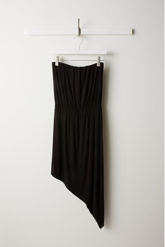 Strapless Asymmetrical Dress BLACK