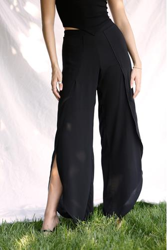 Solid Whitney Wrap Pant BLACK
