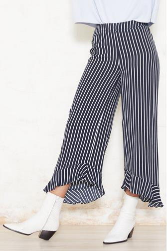 Stripe Ruffle Hem Wide Leg Pant NAVY