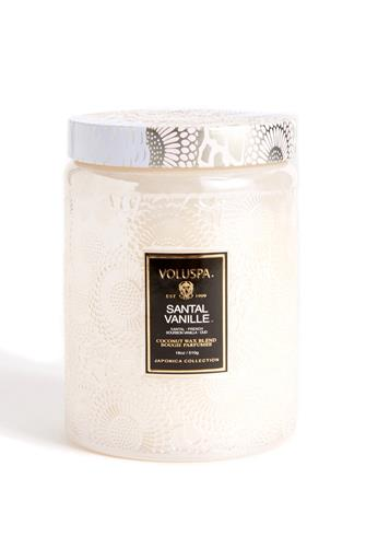 Santal Vanille Large Glass Jar Candle 18 oz. CHAMPAGNE