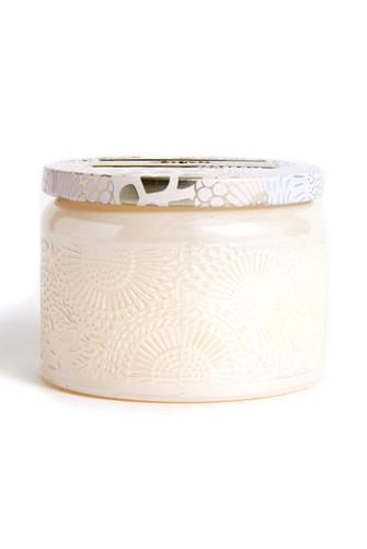 Santal Vanille Small Glass Jar Candle 3.2 oz. CHAMPAGNE