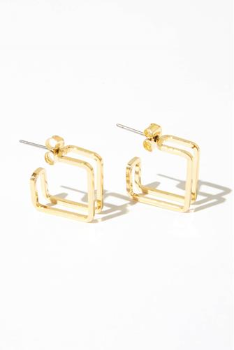 Square Double Bar Mini Hoop Earrings GOLD