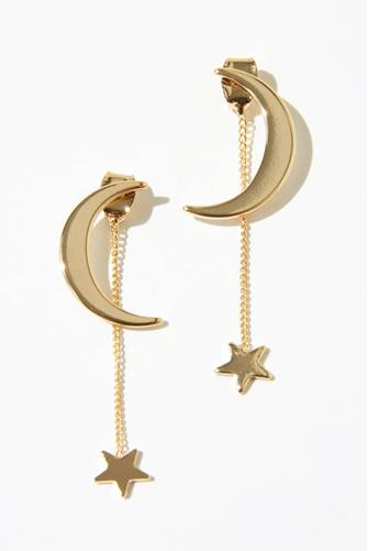 Moon Stud & Linear Star Drop Earrings GOLD