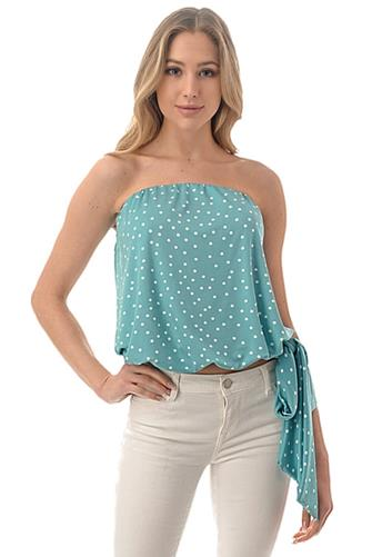 Polka Dot Side Tie Tube Top LITE BLUE