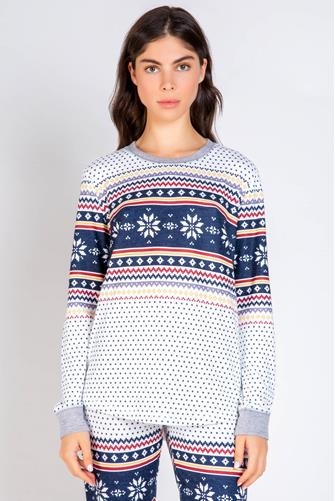 Fair Isle Thermal Sweatshirt IVORY