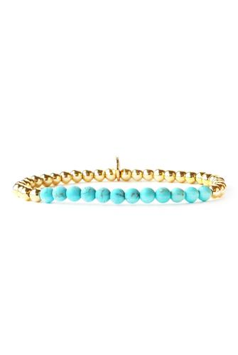 Small Gold & Turquoise Beaded Stretch Bracelet TURQUOISE