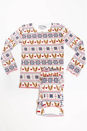 Kids Holiday Frenchie Pajama Set IVORY
