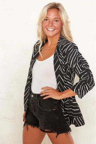 Manhattan Ruched Blazer BLACK MULTI -