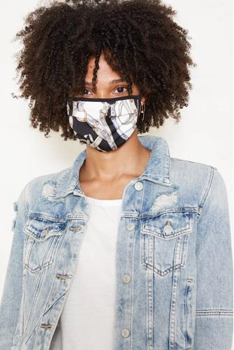 Chain Print Face Mask BLACK MULTI -