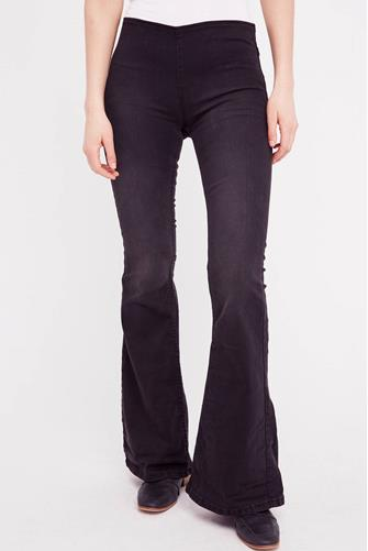 Penny Pull-On Flare Jean in True Black BLACK