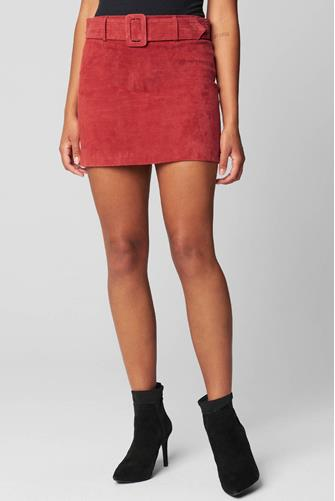Fired Up Suede Mini Skirt RED