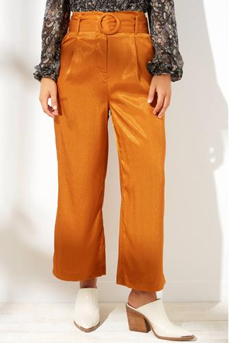 Belted Satin Wide Leg Pant ORANGE