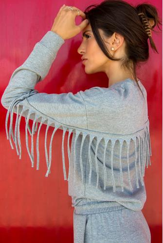 Fringe Grey Sweatshirt GREY