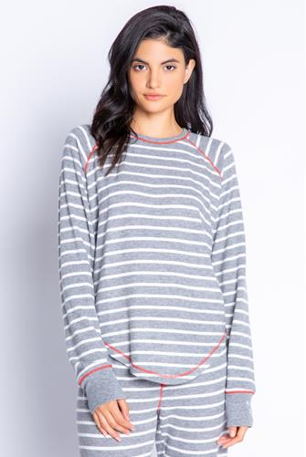Joyful Holiday Stripe Long Sleeve Top GREY