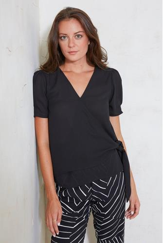 Short Sleeve Wrap Front Top BLACK
