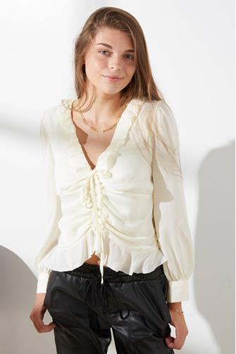 Bristol Ruched Front Ruffle Top IVORY