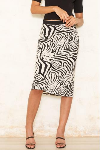 Zebra Midi Skirt BLACK MULTI -
