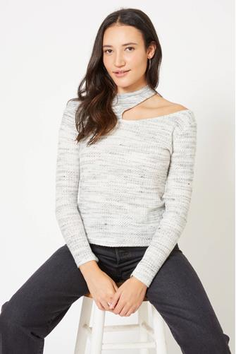 Cut Out Mock Neck Top GREY