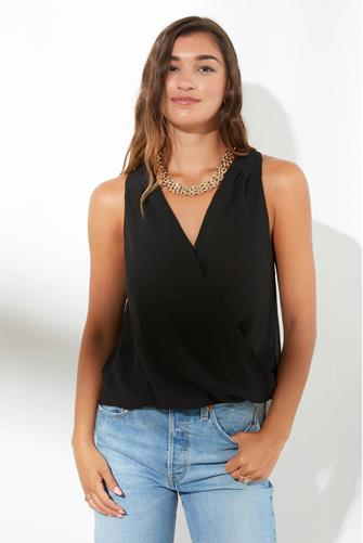 Surplice Solid Tank Top BLACK