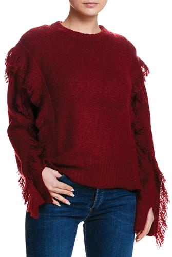 Fringe Sleeve Pullover WINE