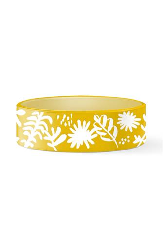 Medium Desert Flower Pet Bowl YELLOW
