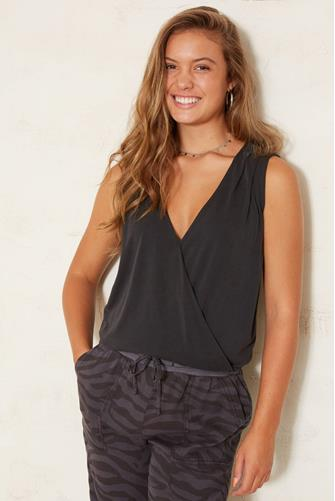 Cupro Surplice Tank Top BLACK