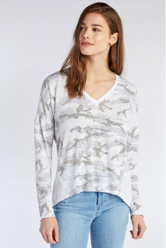 Camo Mixed Media Long Sleeve Top WHITE