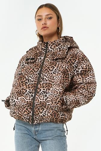 Ryann Leopard Puffer Jacket BROWN
